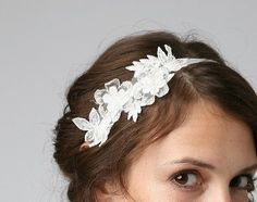 Vintage lace trim bridal headband on off white by UntamedPetals, $48.00