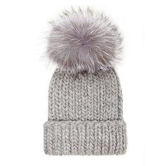 RAIN Light gray chunky wool hand-knit ribbed beanie with fox pom  40325b07d9