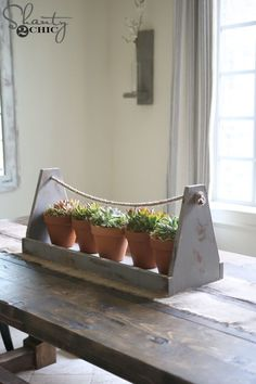 Diy Wood Box Centerpiece Succulent Planters 18 New Ideas Diy Wood Box, Wood Tool Box, Wooden Tool Boxes, Wooden Crates, Wood Boxes, Wood Box Decor, Diy Box, Small Wood Projects, Scrap Wood Projects