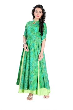 New Arrival Green Rayon Cotton Smooth Slik Kurti Summer Colletion by TheEmpireHub by TheEmpirehub on Etsy