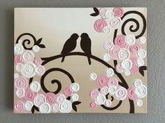 Ces oiseaux d'amour marron chocolat entouré de jolies fleurs roses est un complément sucré à n'importe quelle chambre d'enfant rose. Texture empâtement complet pour ajouter une dimension. Cette pièce est fabriqué sur commande et sera sur son chemin dans environ 3 semaines. C'est 1.5 profonde et peinte sur tous les bords dans un brun foncé donc il n'y a pas besoin d'un cadre. Cette peinture est finie avec une couche de vernis satiné de qualité professionnelle pour le garder protégé…