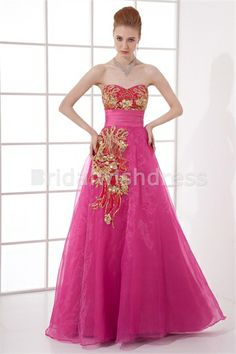 Amazing Spring Satin Organza Sweetheart Hourglass Prom Dresses 2013