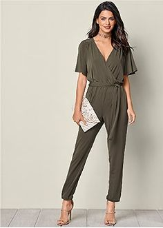 Venus Women's Tie Detail Jumpsuit Jumpsuits & Rompers - Green, Size L Jumpsuit Dressy, Black Jumpsuit, Teaching Outfits, Teaching Clothes, Perfect Woman, Floral Romper, Daily Look, Jumpsuits For Women, Spring Summer Fashion
