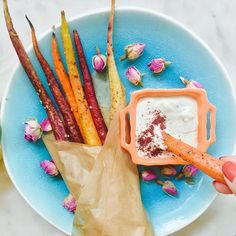 I don't know about you, but we could use some magic today.  So we're making @vibrantandpure's Magical Carrot Fries with Rosewater Tahini Dipping Sauce. So basically it's like having a unicorn on your plate. | link in profile ✨⭐️