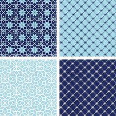 Download and print this FREE collection of Moroccan Patterns in blue.