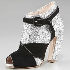 Miu Miu glitter and suede ankle boots