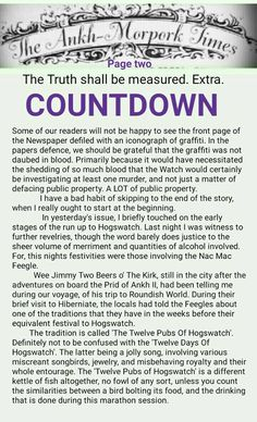 The Ankh-Morpork Times. The Truth shall be measured. Extra. COUNTDOWN. page two. by David Green 4 Dec 2015
