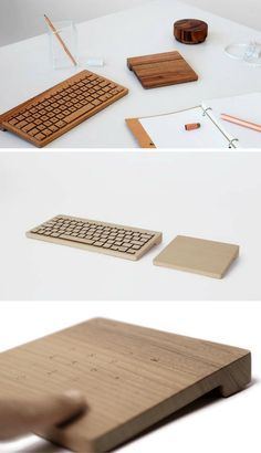Gorgeous and expensive wooden wireless keyboards, touchpads and mini-speakers
