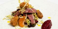 James Mackenzie home-smokes wild mallard breasts in wood chips before serving with crispy, deep-fried duck hearts