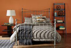 Ethan Allen Bedrooms. Orange bedrooms. Iron beds.