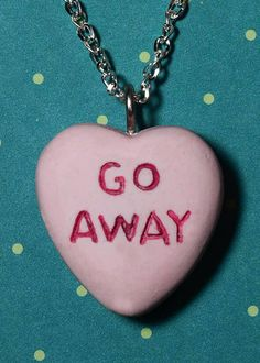 Macy Rockabilly Necklace Candy Heart Message Necklace by VonErickson, $16.66