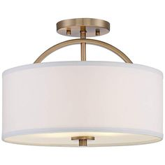 """Halsted Warm Brass Semi-Flush 15"""" Wide Ceiling Light - #9H792 