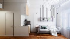 We're all about smart use of small spaces, and this little #apartment designed by Vashantsev Nik is a perfect example of a clever approach. While the #room is tiny, the little #kitchen and #livingroom both feel perfectly cosy and stylish. See #homify for more smart ideas like this.  #house #home #interiordesign #interiordecor #homedesign #homedecor #modernhouse #modernhome #apartmentliving #smallapartment #studioapartment #studio #hacking #smallhouse #smallhome #dreamhouse #dreamhome…