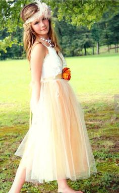 Junior Bridesmaids tulle tutu gown #orange #vintage #brown #ivory #tutu #teens #tweens