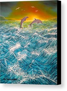 Canvas Print,  ocean,seascape,dolphins,scene,waves,nature,water,fish,sunset,sunrise,rough,big,high,crashing,breaking,splashing,spray,blue,playful,jumping,beautiful,image,fine,oil,painting,contemporary,scenic,modern,virtual,deviant,wall,art,awesome,cool,artistic,artwork,for,sale,home,office,decor,decoration,decorative,items,ideas