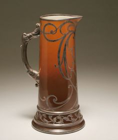 Willets Belleek large tankard / pitcher with silver overlay; monumental size, graduated glaze, scrolling Art Nouveau style sterling trim.1879 - 1914.