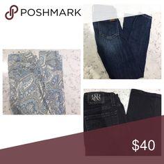 Black R&R, Blue Joe's, & Paisley print Joe's Black Rock & Republic size 10 (23 in. inseam), Joe's Skinny size 10 (25 in. inseam), & Joe's paisley print size 12 (27 in. inseam).  More info is stated in the original sale listing. Bottoms Jeans
