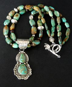 Two-Stone Royston Turquoise and Sterling Pendant with Nevada Turquoise, Quartz, Amber & Sterling