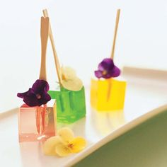 "Fruit infused vodka ""gelees"" with edible flowers. Your wedding is too elegant to call these "" jello shots"" ."