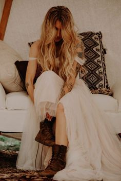 Unique bohemian bride, love the contrast of elegant tulle with her tattoos and boots.  Wildly Romantic Wedding at Wind Wolves Preserve