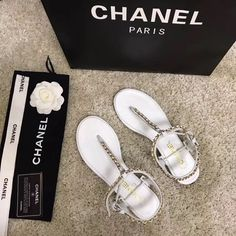 Chanel Brand, Chanel Paris, Woman Shoes, Chanel Shoes, Leather Chain, Leather Sandals, Slippers, Flats, Women