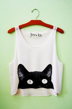 Black Cat Crop Top, cat women's tee, creative, unique t shirt for women