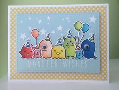 https://flic.kr/p/wFoKhY | Monster Wishes | Lawn Fawn Monster Mash, Year Four and Bella Letters stamp sets. Stars are from Winnie and Walter Big Bang Confetti