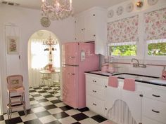 pretty in ... wait! Is that a PINK refrigerator??