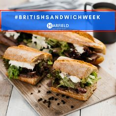 It's #BritishSandwichWeek - What are you going to treat yourself too? We've gone with peppered #Steak on a crusty baguette served on our Oak S-Plank.   Find your perfect display tray at www.harfieldtableware.co.uk