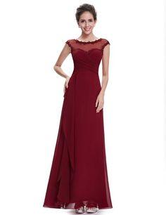 Ever Pretty Damen Rundhals Chiffon Lang Abendkleid 6UK Rot