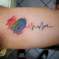 Lesbian Tattoo, rainbow heart with beat tattoo on arm Gay Pride Tattoos, Mom Tattoos, Couple Tattoos, Body Art Tattoos, Tatoos, Skull Tattoos, Sleeve Tattoos, Schallwelle Tattoo, Dna Tattoo