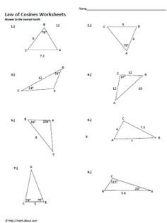 Printables Law Of Sines Worksheet law of cosines worksheet 8 6 form g and worksheets on pinterest