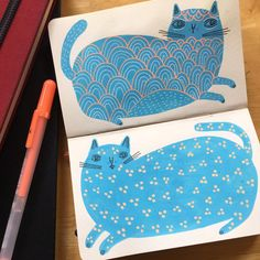 My poor mini sketchbook has been sorely neglected, so here are some blue kitties ✏️ #dailydrawing #sketchbook