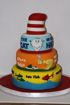 Dr Suess cake idea; would love to do this for Xander's end-of-the-year party! but will I? yeahhhh, probably not. unless I call around to find someone to do it...skilled baker I am not :-/