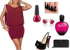 Vestido de fiesta color sangría con brillos. Party dress look  https://m.facebook.com/YouDressUru