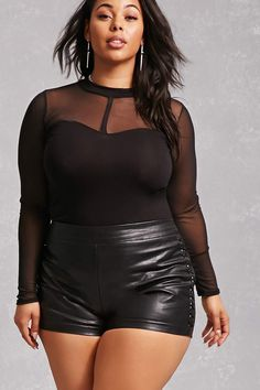 Forever 21+ - A knit top featuring sheer mesh construction, a mock neck, sweetheart bust, long sleeves, and a curved hem.<p>- This is an independent brand and not a Forever 21 branded item.</p>