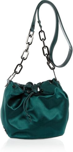 Buy Tory Burch Women's Green Claira Satin and Leather Bucket Bag. Designer Clothes Sale, Discount Designer Clothes, Backpack Purse, Purse Wallet, My Bags, Purses And Bags, Cheap Bags, Fashion Branding, Shades Of Green