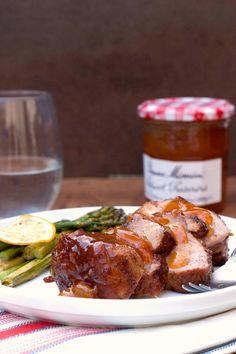 Tangy Apricot BBQ Pork Tenderloin - easy yet delicious way to make pork tenderloin for dinner!  #PorkLUV