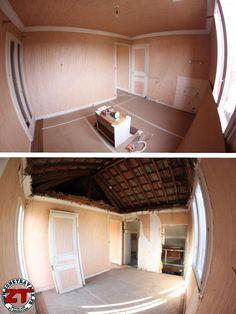 Suite parentale : isolation des murs, plafond cathédrale pour gagner en hauteur de plafond et ouverture du mur pour accéder à une future salle d'eau