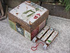 """Купить Шкатулка-бонбоньерка 2 из зимней коллекции """"Мой зеленый Новый год"""" - зеленый, шкатулка"""