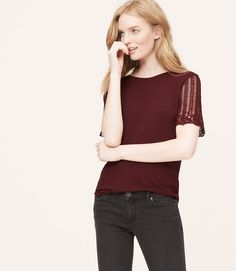 Primary Image of Lace Sleeve Tee