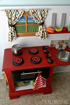 Diy Toys See how this mom made a play kitchen from one night stand. Play Kitchen - Taylor Made Diy Play Kitchen, Toy Kitchen, Play Kitchens, Kitchen Redo, Kitchen Remodel, Diy Toys, Kids Furniture, Bedroom Furniture, Furniture Design
