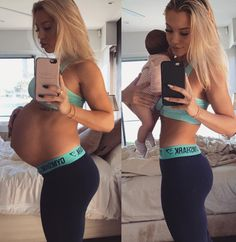 Fitness guru and mother-of-two from Queensland, Tammy Hembrow, revealed why she didn't get any stretchmarks while pregnant. She credited it to rosehip oil, water and eating a clean diet. My Pregnancy, Pregnancy Outfits, Pregnancy Workout, Pregnancy Photos, Pregnancy Fitness, Pregnancy Swimsuit, Maternity Outfits, Tammy Hembrow, 5 Weeks Pregnant