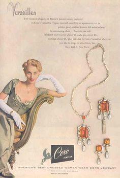 VanDusen 1949 - 1949 ad for Coro's Versailles line of jewelry. -Ricki VanDusen 1949 - 1949 ad for Coro's Versailles line of jewelry. 1940s Jewelry, Jewelry Ads, Vintage Costume Jewelry, Vintage Costumes, Antique Jewelry, Vintage Jewelry, Gold Jewellery, Emerald Jewelry, Yoga Jewelry