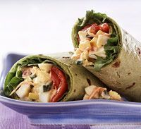 Egg/Veggie Wrap ~ Fresh vegetables add crunch and flavor to plain egg salad in this recipe. These low calorie wraps are great to take to work.