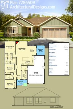 Architectural Designs One Story Craftsman House Plan 72865DA gives you 3 bedrooms and over 1,800 square feet of heated living space. The great room has an angled fireplace and is open to the kitchen and dining room. Ready when you are. Where do YOU want to build?
