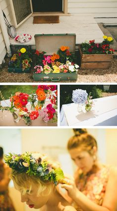 nice crate / suitcases with flowers