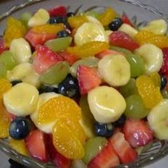 Fruit Salad to Die For! The only sweetener in this salad is a box of vanilla instant pudding and the juice from a can of pineapple. It was great, and actually still tastes good the day after you make it without being mushy.