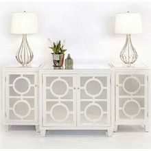Ava Circle Mirrored Buffet White