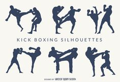 Kick-boxing silhouettes set